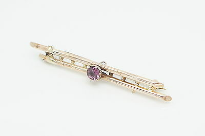 Vintage/Antique 9Ct Rose Gold Amethyst Double Bar Pin Brooch