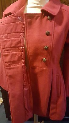 Girls woollen pillar box red coat size 13/14 years double breasted metal buttons