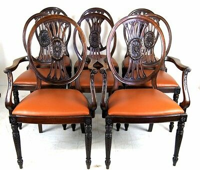 A Good Set Of 8 (6+2) Edwardian Mahogany Dining Chairs