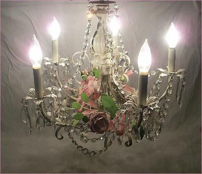 Vintage Pink & White Floral Tole Chandelier Crystal Accents Shabby Cottage Chic