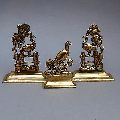 3 Antique Brass Fireplace Ornaments ~ Pair Peacocks & Pheasant ~Victorian Mantel