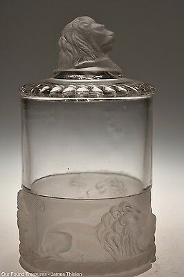 c. 1877 LION by Gillinder & Sons CRYSTAL Marmalade / Pickle Jar w/Cover