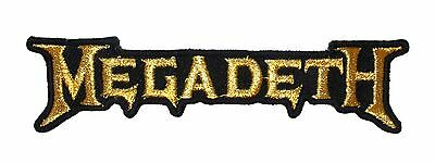 """""""Megadeth"""" Gold Band Logo Heavy Metal Music Embroidered Iron On Applique Patch"""