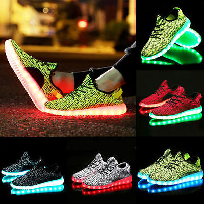 Kid's Knit LED Light USB Lace Up Luminous Sportswear Sneaker Casual Shoes RAVE
