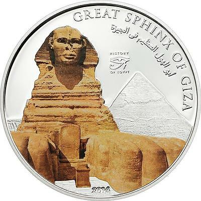 Cook Islands 2014 $5 History of Egypt Great Sphinx of Giza 20g Proof Silver Coin