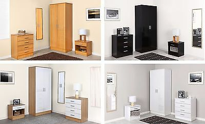 Galaxy Gloss Effect 3 Piece Bedroom Furniture Trio Set  Wardrobe Drawers Bedside