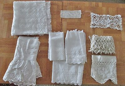 Lot Antique Lace and Trim Fragments Great for Projects 9 Pieces