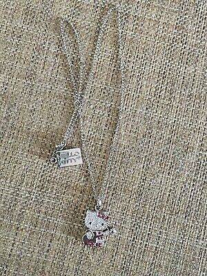 Hello Kitty Sanrio Sterling Silver CZ Guitar Kitty Necklace