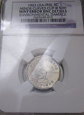 US/Philippines 1903-P Five Centavos NGC UNC MINT ERROR **CLIP** ~CPPM~  Buy Now