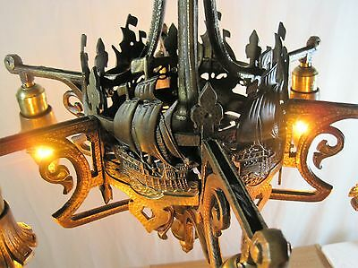 Chandelier Antique Solid Cast Brass Polychrome Lincoln Co. Sailing Ship Restored