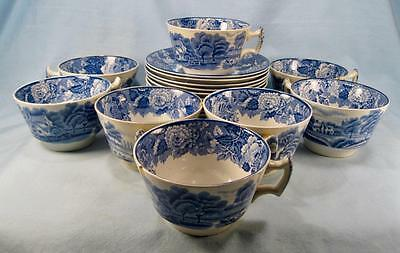 8 English Scenery Blue Flat Cups & 11 Saucers Wood Sons Transferware (O2) AS IS