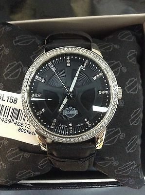 Womens Harley Davidson Bulova Watch With Crystals 76L158 D New With Tag