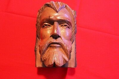Vintage Wood Tree Carved Jesus Style Religious Bust Statue Sculpture Bookend