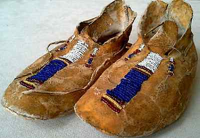 "Vintage Antique 5 7/8"" Northern Shoshone Indian circa 1910-20 Beaded Moccasins"