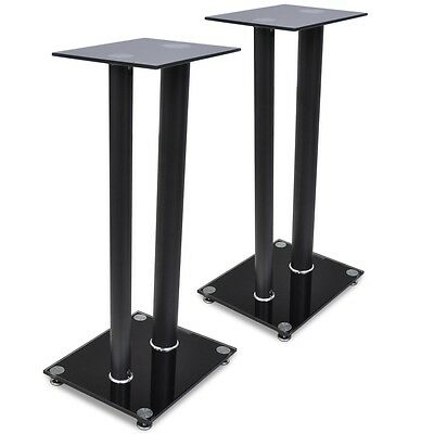 Pair of Speaker Stands 61cm Glass Heavy Duty Home Theatre Monitor Black Sound