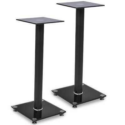Pair of Speaker Stands 58cm Glass Heavy Duty Home Theatre Monitor Black Sound