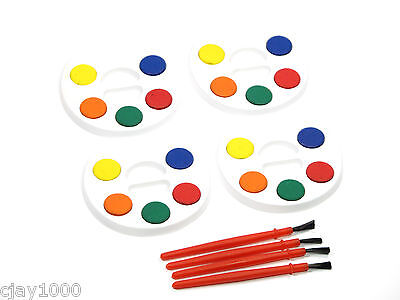 4 x KIDS WATER COLOUR SETS 5 COLOURS EACH PALETTE + PAINT BRUSHES ART