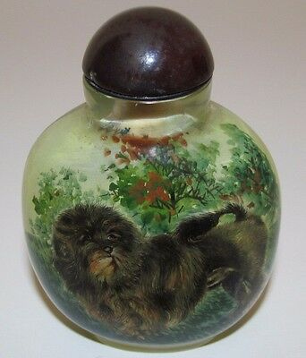 """Reverse Painted Glass Snuff Bottle Lowchen Dog 3""""H Signed"""