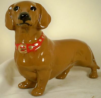 Dog Figurine DACHSHUND MOOTH Red 1980's USA Porcelain BEAUTIFUL RARE
