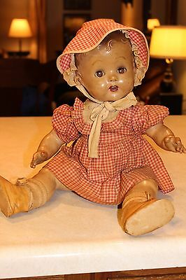 Antique Bisque Doll Sleepy Eyed Opened Mouth 2 Teeth