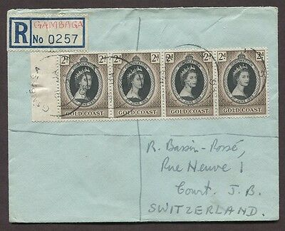 Gambia 1954 Registered Coronation Issues On Cover To Court Switzerland