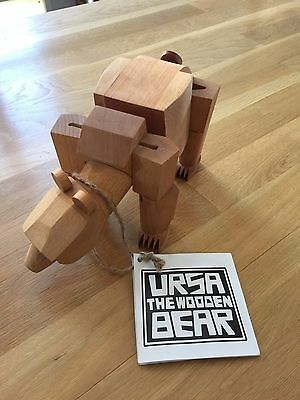 "David Weeks Studio Areaware - Large 13.5"" Wooden Ursa the Bear w/ Tag! Sold out!"