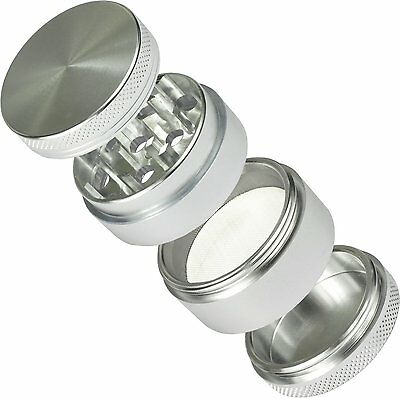 Zinc Alloy Silver 4 Layers 50mm Cigar Herb Grinder Tobacco Crusher Buster