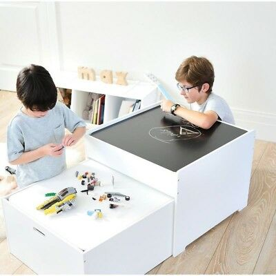 HipKids Bronte Wooden Activity Arts Craft Play Table Toy Box Storage Chalkboard