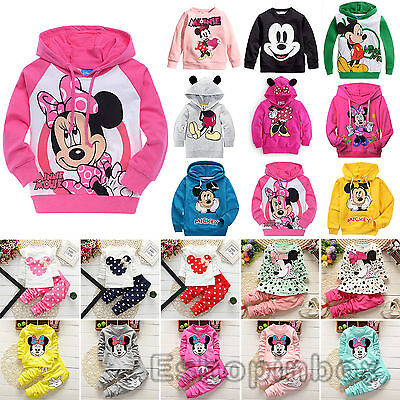 Kids Baby Girls Cartoon Sweatshirt Hooded Coat Top Pants Infant  Outfits Set