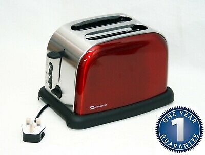 2 Wide Slice Electric Toaster Browning Control Crumb Tray Breakfast Bread RED