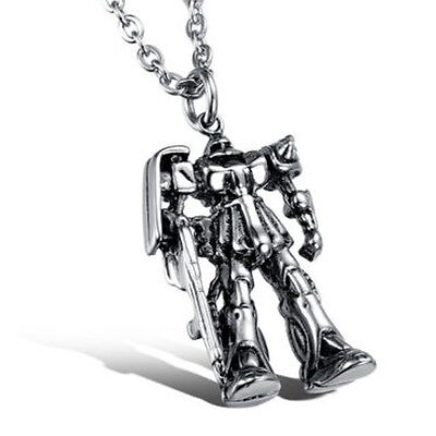Fashion Boy's Jewelry Stainless Steel Transformers Robot Pendant Necklace Gift