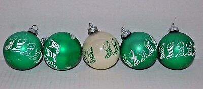 Lot Of 5 Vintage Shiny Brite Green & White Stocking Glass Christmas Ornaments