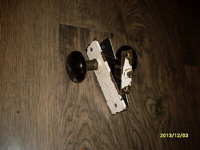 Antique Black Porcelain 2 Sided Door Knobs w/ Lock set Original