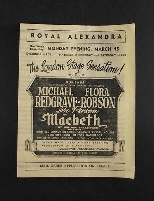 Royal Alexandra Redgrave Robson Macbeth Mail Order Playbill