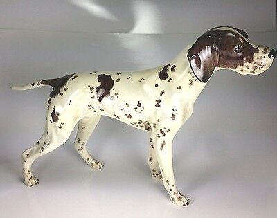 "Superb Rare Vintage Large 14""  ""pointer Dog"" Porcelain Figurine By Gort 109-D"