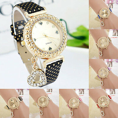 Fashion Women's Bracelet Bangle Leather Crystal Quartz Analog Wrist Watch Sturdy