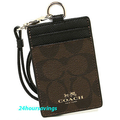 NWT COACH Brown Black Signature Lanyard Badge ID Credit Cards Case Holder 63274