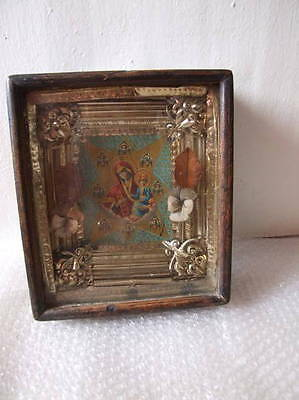 BURNING BUSH - ANTIQUE OLD RUSSIAN ICON (LITHOGRAPHY) KIOT, 260mm x 235mm