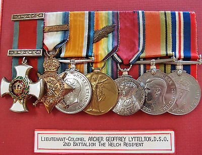 Rare Ww1 British D.s.o. Medal Group Lt Colonel Lyttelton M.g. Officer Welsh Regt