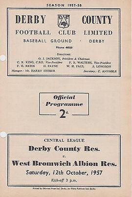 DERBY COUNTY  v WEST BROMWICH ALBION RESERVES ~ 12 OCTOBER 1957