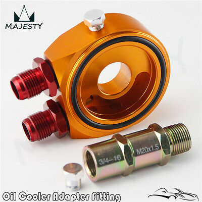 AN8 Aluminum Oil Cooler Oil Filter Sandwich Adapter Plate Kit For Japan Car Gold