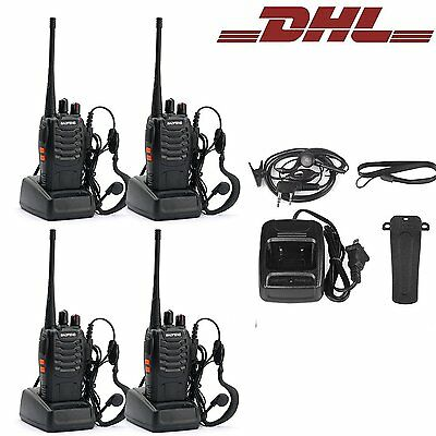 BF-888S+4*Headset UHF 50Ω CTCSS/CDCSS 5W 4* Baofeng Hand-Funkgerät Walkie-Talkie