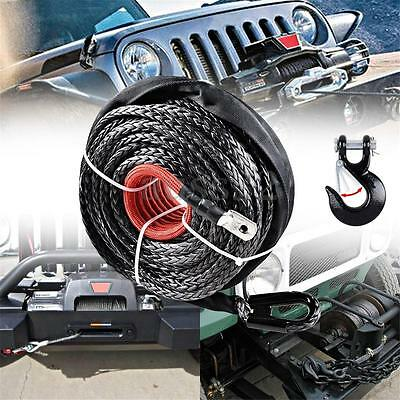 """Car Durable 12000 LBs Synthetic Winch Rope Recovery Cable 25m/82"""" + Steel Hook"""