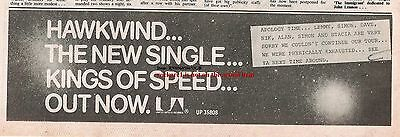 HAWKWIND Kings of Speed 1975 UK Press ADVERT 12x4 inches