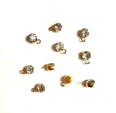Faceted Crystal Glass Mini Brass Pendant Charms - GP - 7.5mm - lady-muck1