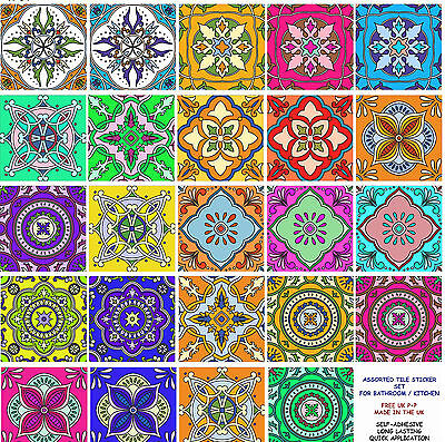 """4"""" or 6"""" Multi 24 Pack Tile Sticker Decal Kitchen Bathroom Tiles Adhesive TP64"""