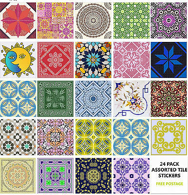 "4"" or 6"" 24 Pack Moroccan Tile Sticker Decal Kitchen Bathroom Self Adhesive TP66"