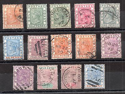 Gold Coast 1875-1898 QV used unchecked collection WS2189