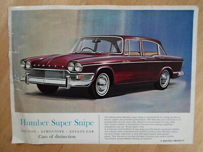 HUMBER SUPER SNIPE orig 1964-67 UK Mkt Sales Leaflet Brochure - Rootes Group
