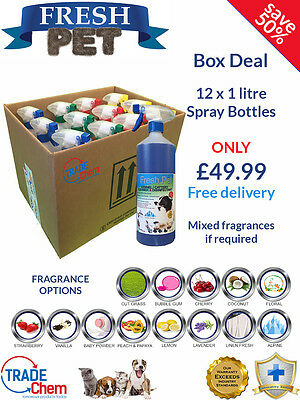12 PACK FRESH PET 1L SPRAY BOX DEAL - Kennel/Cattery Disinfectant and Deodoriser